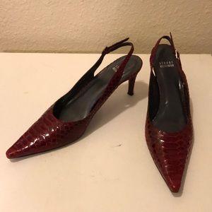 🐍 Stuart weitzman red snakeskin slingback heels